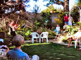 by: Elizabeth Ussher Groff, Lucia Atkinson, a senior at the Shelton School of Music at Rice University, donated her time to benefit Heifer International by performing at Bonner's backyard Garden Party.