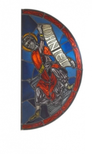 by: VERN UYETAKE, This stained glass window Stephenson reproduced from a window from Canterbury Cathedral in England.