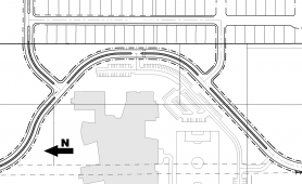 by: David Boehmke, This map shows both the existing Bell Street right-of-way (at the bottom) and the proposed realignment. The change would put Bell Street within 35 feet of the back of Coralburst Street homes.