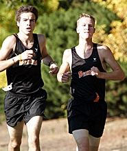 by: MILES VANCE, TWO TO GO — Beaverton's Vincent Kirse (right) and Hasson Hamadi ran to a 1-2 finish last Wednesday at Westview High School and led the Beavers to Metro League wins over both Westview and Southridge.