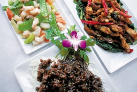 by: Denise Farwell, Chinese delights like sesame beef (bottom), prawns with snow peas and chiang-sa chicken tenderloin reward diners who make the effort to find Sungari's tranquil downtown space.
