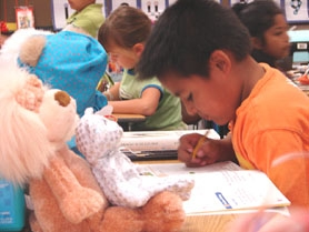 by: Jennifer Clampet, SHARING THE LOVE — Joosvel Villegas, a student in Erin Russell's second-grade class at Bridgeport Elementary, keeps his class project teddy bears close as he works to complete his math assignment.