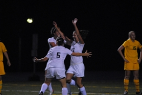 by: Vern Uyetake, Lakeridge's Heide Klein, far right, celebrates her goal in last Thursday's game against West Linn. Sharing the moment with Klein were Jenna Horton, foreground, and Riley Costello. Klein's goal gave Lakeridge a 1-0 lead and the Pacers eventually claimed a 3-1 victory. Lakeridge added a win over Putnam on Monday, which gave Lakeridge's a one-point lead over Lake Oswego atop the league standings.
