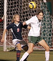 by: MILES VANCE, BONK — Jesuit junior midfielder Kelsey Dripps heads the ball away from Westview senior midfielder Katie Brown during the Crusaders' 1-0 win last Thursday night.