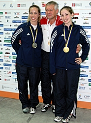 by: submitted photo, SABER STARS — Cedar Mill's Becca Ward (right) and Beaverton's Mariel Zagunis (here with coach Ed Korfanty) went 1-2 in the World Saber Champion-ships on Oct. 2.