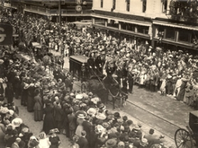 by: Courtesy of City of Portland Archives, The 1911 funeral of Portland Fire Chief David Campbell, who died in the line of duty, drew 150,000 mourners into the streets, according to a newspaper account of the time.