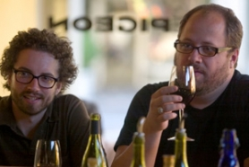 by: CHRISTOPHER ONSTOTT, Whitney Platt (right) and Nickolaus Typaldos sip red wine while waiting for dinner at Le Pigeon.