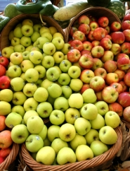 by: JIM CLARK, As apple season peaks, grocers such as New Seasons Market pile on the varieties, including Golden Delicious (left) and Jonagold.