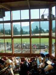 by: RANDALL BARTON, If the majestic view from the Skamania Lodge's lobby doesn't satisfy, people-watching from the porch is fun.