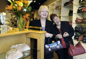 by: Carole Archer, Accents of Elegance owner Vona Cline, left, and friend and store manager Rebecca Fisk share their excitement about the new downtown storefront at 316 N. Main Ave. in historic downtown Gresham.