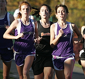 by: MILES VANCE, LEADERS OF THE PACK — Sunset's Audrey Botti (left) and Crissy Foster lead Beaverton's Sarah Curry during their 5K race last Wednesday at Tualatin Hills.
