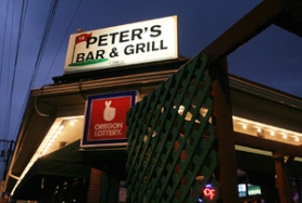 by: DENISE FARWELL, A beacon on Northeast Fremont Street, Peter's welcomes beer drinkers, trivia hounds and, yes, steak cravers with menu choices like sliced sirloin (above) on a bed of fettuccine marinara.