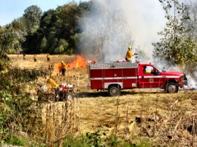 "by: Eric Norberg, While the torchers were setting the non-native canary grass on fire, other firefighters in ""brush units"", with self-contained water tanks aboard, were already following their part of the plan to make sure the fire did not burn outside the prescribed boundaries."
