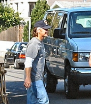by: , Neighbor, and BEE reader, Bill Bahrenburg snapped this photo of Sean Penn, as the director scurried about his Sellwood set.