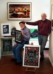 by: L.E. BASKOW, Jack McLarty (left) and George Johanson, two of the founding members of Print Arts Northwest, prepare to show their stuff as part of the group's 25-year anniversary.