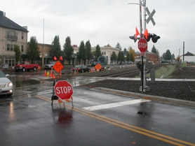 by: Anthony Roberts, The temporary stop signs at Railroad and Main streets.