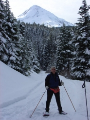 by: contributed photo, Sue Allen snowshoes on Cooper Spur Road on the way to Inspiration Point earlier this year.