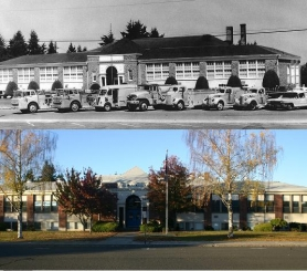 by: contributed and staff photos, Top: Sandy Grade School circa 1960s. Bottom: Sandy Grade School today.