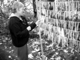 by: Cliff Newell, Friends of Tryon Creek State Park Executive Director  Step-hanie Wagner checks out The Lichen Link, which features strands of lichen hanging from string.