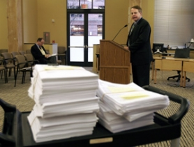 by: jaime VALDEZ, John Jackley, a Portland Development Commissioner manager, presented thousands of e-mails and documents to the media Wednesday afternoon after his agency was criticized during a morning City Council session for withholding documents.