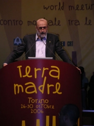 by: Submitted photo, Carlo Petrini, founder of the Slow Food Movement, addresses the more than 5,000 delegates at Terra Madre, a worldwide conference addressing farming and small food production issues.