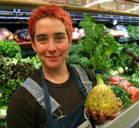 by: JIM CLARK, Chefs in restaurants from Higgins to Nostrana take regular deliveries of celeriac from farms, and the root vegetable's gaining fans at the groceries as well, including Food Front's Katie Sharrow.