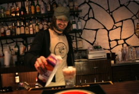 "by: DENISE FARWELL, Ben Rodriguez makes a drink at the Matador, which narrowly escaped major overhauls and buyers until two employees ""saved"" it."