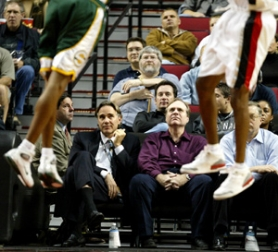 by: KYLE GREEN, City of Portland figures show just how much less ticket revenue Blazer President Steve Patterson (left) and owner Paul Allen have to work with as they try to turn the team around.
