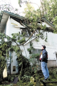 by: Carole Archer, On Friday, Dec. 15, Tim Hesson surveys the damage a tree did to his Wood Village home the previous day.