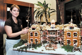 by: Carole Archer, Pastry Chef Mary Minor created her second gingerbread replica of McMenamins Edgefield over a two-month period. The creation is on display near the front lobby, next to the reception desk until New Year's Day.
