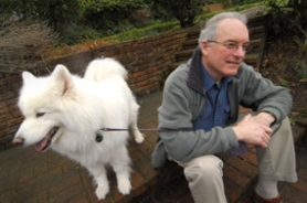 by: Vern Uyetake, Shelly Lipkin sits at his Lake Oswego home next to his dog Echo. His most recent play, Sylver Beaches was nominated for an Oregon Book Award for Drama. He is actively involved in Portland's theater scene and at the Lakewood Center for the Arts