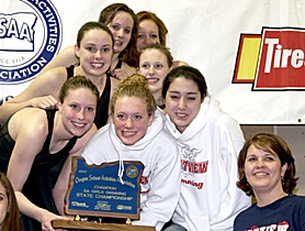 by: MILES VANCE, WINNERS — The Westview girls swim celebrated its third straight big-school state title on Sunday. The team included (clockwise from bottom left) Michelle Needham, Kelsey Pinson, Abigail Lindstrom, Jordan King, Hannah McCulley, Kayla Branche, coach Melinda Miller and Kath Liggett.