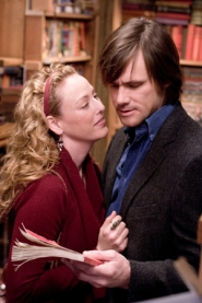 by: ©2007 CHRISTINE LOSS, Agatha Sparrow (Virginia Madsen) gives hubby Walter (Jim Carrey) a book that promises to change their lives, in a movie that probably won't change yours.