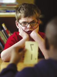 by: L.E. BASKOW, Bill Ashmun, 12, runs through flashcards in a Life Skills classroom at Fernwood Middle School dedicated to special-education kids. Since the start of the school year, he's made progress with numbers and reading. The district's 24 such classrooms serve 216 students.