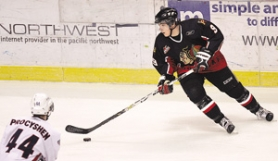 by: DENISE FARWELL, One of the few stars of the team, center Colton Sceviour has shown offensive potential this season, despite the Hawks having lost 17 of their last 18 games.