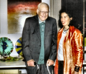 by: Rita A. Leonard, Brooklyn artist Frank Springer featured his fused glass art at a show in February. Brooklyn painter Cecelia Hallinan (right) organized the event at Camamu Studio/Showroom on S.E. Clinton Street.