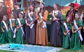 by: Anthony Roberts, The 2006 Maid Marian Court at the Robin Hood Festival's knighting ceremony in Old Town.