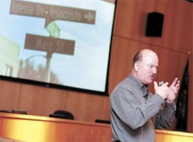 by: Chase Allgood, At a meeting last week, consultant Roger Brooks went over the steps he feels the city needs to take, such as avoiding confusing street signs, to attract visitors to Forest Grove.