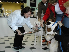 "by: Jim Hart, With typical French elegance, Cindy Clunes-Noack offers healthy treats on a silver platter to a quartet of canine followers, from left, ""Cleopatra,"" a white boxer licking her chops; ""Cesar,"" a fawn boxer, hiding behind boxers' owner Jeffrey Ervin; ""Duncan,"" a Wheaton Scotch Terrier, sitting patiently at the order of owner Dana Barron; and ""Raindrop,"" a Boston Terrier, showing enthusiasm for the tasty treats but restrained by owner Diane Gruber. This scene took place inside one of West Linn's newest businesses: Bone-Jour Gour-Mutt Bakery and Boutique."