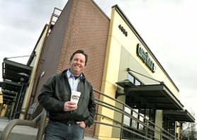 by: Jaime Valdez, Ron Yost, an owner of Coffee Rush, is pleased with the new Beaverton restaurant on Southwest Griffith Drive. The shop offers coffee, free wi-fi and gelato.
