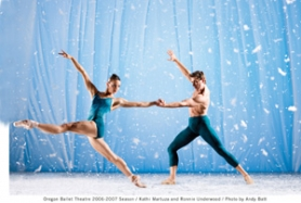 by: ©2007 ANDY BATT, Company dancers Kathi Martuza and Ronnie Underwood appear in Oregon Ballet Theatre's winter program.