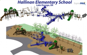 by: Submitted Photo, An architectural rendering of the new Hallinan playground by Wildwood Playgrounds Northwest, of Portland.