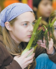 by: John Klicker, Kayla Cook, 12, a fifth-grader at Hall Elementary School, smells a stalk of fennel during the Farm to Market nutrition fair on Friday, March 9.