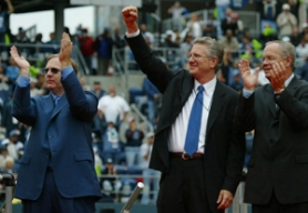 by: ERIKA SCHULTZ, Tod Leiweke (middle) celebrated the Seattle Seahawks' Ring of Honor with team owner Paul Allen (left) and President of Operations Tim Ruskell. Now overseeing all of Allen's sports-related properties, Leiweke is in charge of hiring new management for the Trail Blazers.