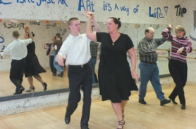 by: John Klicker, Zach Funk, left, and his mother, Kristine, of Sandy, give the waltz a whirl at a Wednesday, Feb. 28, ballroom class at the Deborah Messinger School of Dance in Gresham. In the background are Bob and Shirley Miller of Sandy, who took the class with their daughter, Jessica Judd, and her husband, Chris.