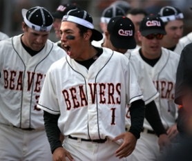 by: DENISE FARWELL, OSU's Joey Wong celebrates as the Beavers tie the game in the bottom of the ninth against San Francisco in Corvallis on Sunday. The Beavers won 3-2.