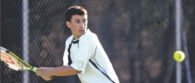 by: JIM CLARK, Cleveland freshman Alex Rovello's tennis lessons began at age 2 from his father at Berkeley Park. Now 15, he could contend for a state title.