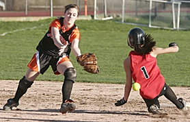 by: MILES VANCE, SAFE — Beaverton shortstop Maddie Evans watches the ball bounce away from her as Clackamas' Kathryn Persaud steals second in the eighth inning Friday afternoon.