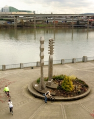 "by: L.E. Baskow, The ""Friendship Circle"" musical sculpture in Gov. Tom McCall Waterfront Park marks the sister-city relationship between Portland and Sapporo, Japan. It was dedicated in 1990."