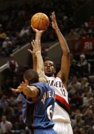 by: L.E. Baskow, Rookie LaMarcus Aldridge takes a shot over Wizard Antonio Daniels in the Blazers' 100-98 win Tuesday. As the team's top shooter from the field, as well as its No. 3 rebounder and No. 5 scorer, Aldridge may have strayed into all-rookie team territory.